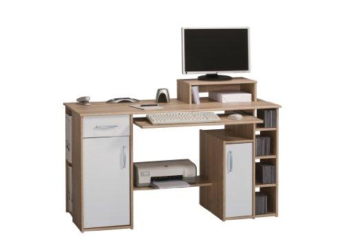 MAJA-Möbel 1929 2535 Schreib- und Computertisch, Sonoma-Eiche-Nachbildung - weiß uni, Abmessungen BxHxT: 139 x 91,5 x 60 cm