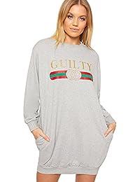 WearAll Women's Slogan Print Long Sleeve Sweater Dress Ladies Sweatshirt Jumper Top Baggy 8-14