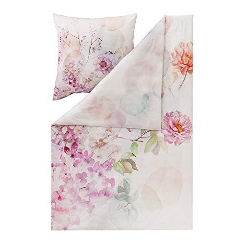 ESTELLA Bettwäsche Bloom | Multicolor | 200x220 + 2X 80x80 cm | Mako-Satin mit seidigem Glanz | trocknerfest | atmungsaktiv und anschmiegsam | 100% Baumwolle