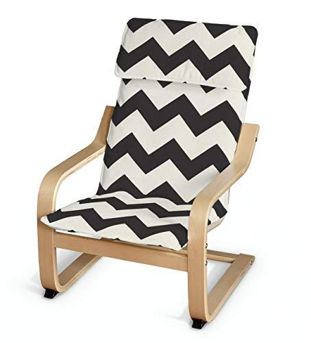 Dekoria Poäng Kissen für den Kindersessel Sesselhusse passend für IKEA Modell Klappsta schwarz- Weiss