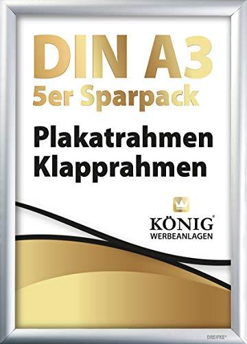 5 Plakatrahmen DIN A3 | 25mm Aluminium Profil, Silber | inkl. entspiegelter Schutzscheibe und Befestigungsmaterial | Alu Klapprahmen Wechselrahmen Posterrahmen | 5er Sparpack | Dreifke®