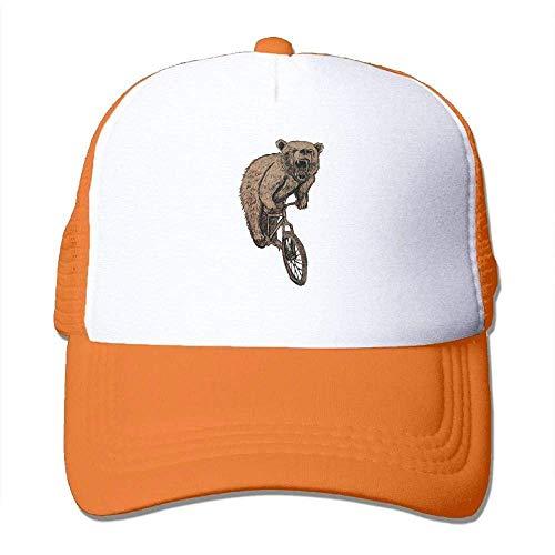 Hoswee Unisex Kappe/Baseballkappe, Bear On A Mountain Bike Men's Mesh Back Core Baseball Cap Air Mesh Polyester Cap -
