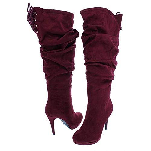 Thalia Sodi Frauen Brisa Geschlossener Zeh Wildleder Fashion Stiefel Rot Groesse 9 US /40 EU -
