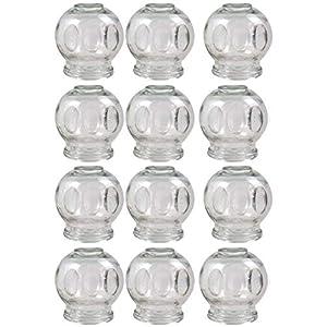 12er SET Schröpfglas Extra Groß, ø 7 cm, Höhe 8 cm Öffnungs Innendurchmesser ca. 4,3cm Schröpfen aus Glas Feuerschröpfen Vakuum Massage Glass Cupping Банки медицинские von WARENWELT
