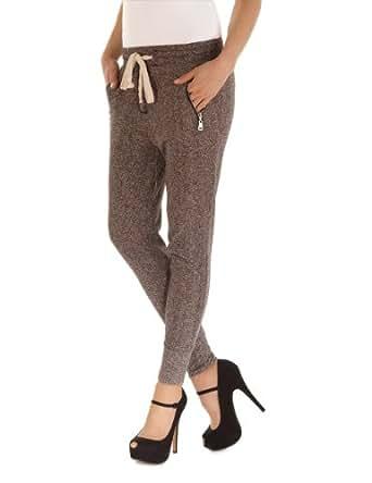 Balingi pantalon de jogging avec fermeture éclair pour femme BA10280, Größe:M;Farbe:Dunkelgrau