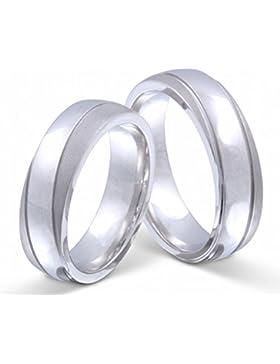 Flame Partner-Ringe 2 Trauringe massiv 925er Sterling Silber rhodiniert S-AH-HH-og