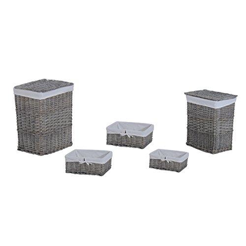 Homcom 850–021klein/mittel/groß Home behindern Weidenkörbe SET mit 2Wäschekorb mit Deckel und 3Aufbewahrungskorb mit Innenfutter–grau (Set von 5) Fünf Weidenkörbe