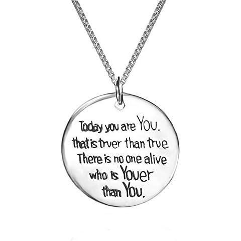 Sterling Argento Personalizzato Love Inspirational messaggio inciso ciondolo collana, catena collana donne