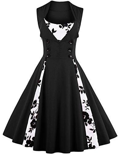Joansam Damen Vintage Style Ärmellos Polka Dot Lässige Cocktailparty Kleid JS0001BF-XL (Schuhe Für Ein Flapper Kostüm)
