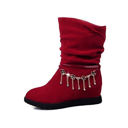 AgooLar Damen Mittler Absatz Rein Rund Zehe Mattglasbirne Ziehen Auf Stiefel Rot