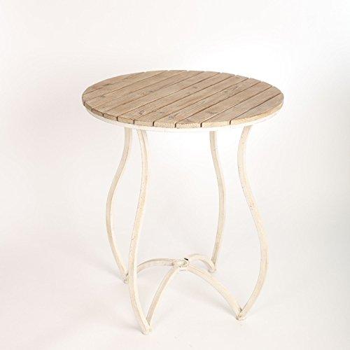 Tisch Antik Küchentisch Esstisch Rund Metal Holz Industrial Weiss Vintage Shabby 77 x 66 cm A24
