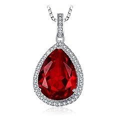 Idea Regalo - JewelryPalace Lusso Taglio Pera 10.9ct Sintetico Rosso Rubino Ciondolo Collana con Pendente 925 Argento Sterling 45cm