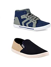 STYLIVO Combo Pack Of Casual Blue Grey Sneaker & Beige Loafer Shoes For Men's