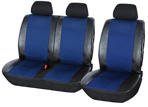 WOLTU AS7325 Auto Sitzbezüge universal Größe, 1+2 Sitzbezug Schonbezüge aus Polyester & Kunstleder schwarz-blau