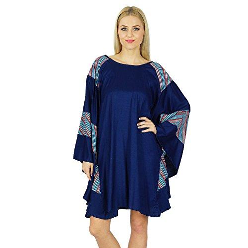 Bimba Frauen Rayon Kurz Poncho-Kleid Schmetterling Individuelle Kaftan Boho Kleidung Blau