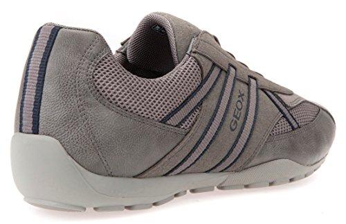 Geox U823FB Uomo Ravex Sportlicher Herren Sneaker, Halbschuh mit Gummizug, Schlüpfschuh, Slipper, Freizeitschuh, Atmungsaktiv Anthracite