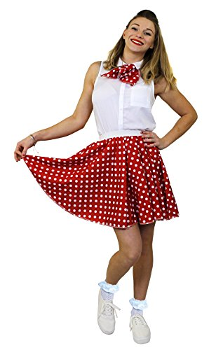 I Love Fancy Dress ILFD7016OS Damen-Rock mit Polka-Dot-Print, Länge: 43,2 cm, EU 36 - 40