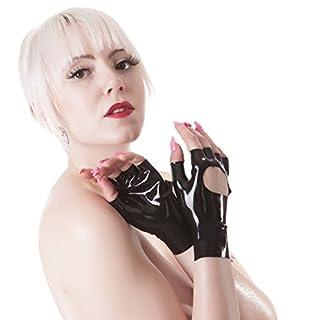 Rubberfashion kurze fingerlose Latex Handschuhe, Latexhandschuhe bis zum Handgelenk mit veredelter Oberfläche nicht chloriert für Frauen Menge: 1 Paar schwarz S
