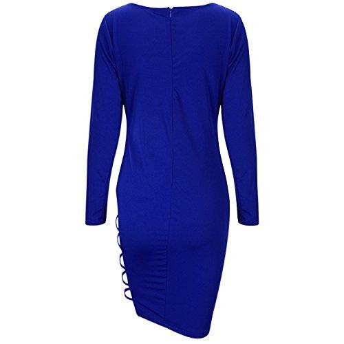 Chouette Femme Bandage Robe Longue Manches Longues Robe de Cocktail Bodycon Moulante Bal Clubwear Nightwear Bleu foncé