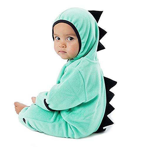 Cooljun Infant Kleinkind Baby Dinosaurier Hoodie Halloween Weihnachten mit Kapuze Strampler Overall Outfits Zip Kleidung Outfits Mädchen Jungen Langarm Kapuzen Mantel (12-18 Monate/ 85-90cm, Grün)