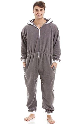 Herren Schlafanzug-Overall mit Kapuze - Reißverschluss vorne - weiches Fleece-Material - Grau M (Vorne-mit Kapuze-fleece Reißverschluss)