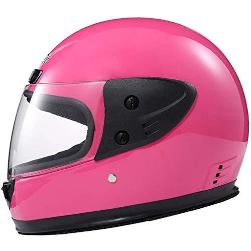 QIULAO Motorradhelm for Männer Und Frauen Full Cover Helm Offroad Lokomotiv Racing Helm Four Seasons Clear Lens (Color : F03 pink-Transparent Lens) -