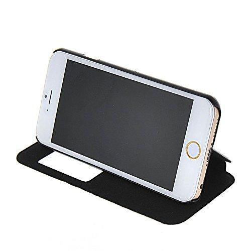 MOONCASE Etui Housse Cuir Portefeuille Case Cover Pour Apple iPhone 6 Doré Noir 01