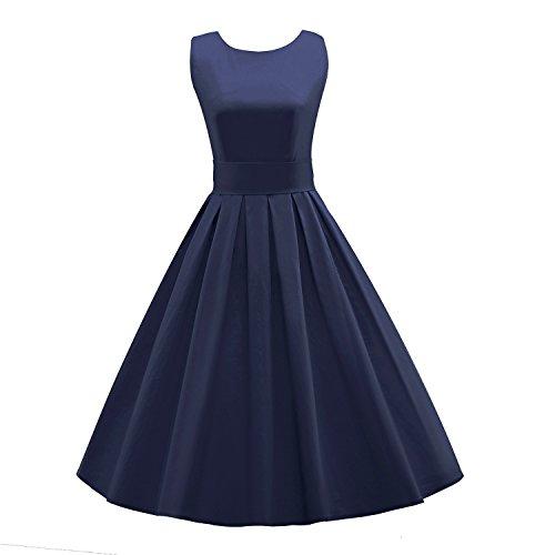 LUOUSE Sommer Damen Ohne Arm Kleid Dress Vintage kleid Junger abendkleid,NavyBlue,XXXL