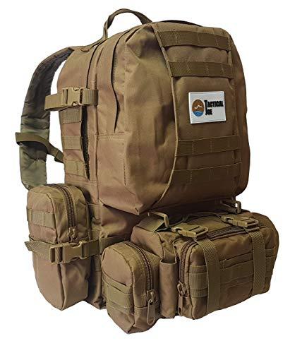 OutdoorJoe TacticalJoe Outdoor 40L taktischer 3-Tages-Pack Rucksack mit Molle Pouches und Scout Pack (Khaki) -