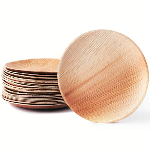 Casparo Eco Design 25 natürliche Palmblattteller | edel & umweltfreundlich · unser Stilvolles Palmblattgeschirr ist 100% kompostierbar | Einweggeschirr aus Palmblatt | Palmblätter als Einwegteller