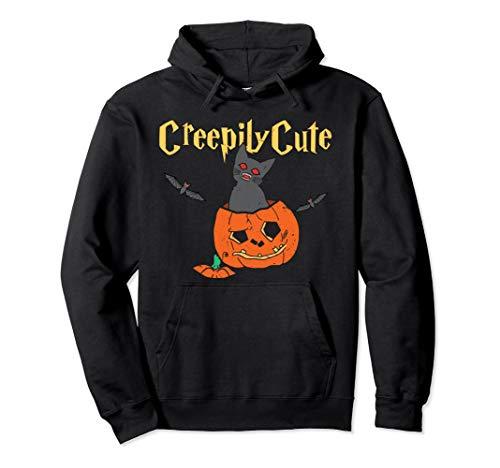 Gruselig niedliche Halloween-Katzen-Kürbis-Festlichkeit Pullover Hoodie