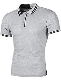 Cebbay Camiseta para Hombre Colorblock Rayas botón con Capucha Delgada Camisa  Manga Corta Camisa de Media 973dae814a357