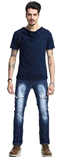 Pizoff Herren Urban Basic Kurz Arm T-shirt mit Kapuze aus weiches Matrial B025-Navy