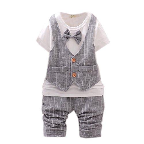 Kinder Geschenk Neugeborenes Kurzarm-Sommer Baby Strampler fälschen Gentleman Jacke Shirt Hosen...