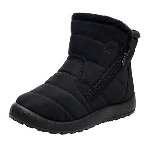 Stivali Donne Snow Boots Winter Ankle Short Bootie Scarpe Impermeabili Scarpe Calzature Calzature Calde (36 EU,Nero)