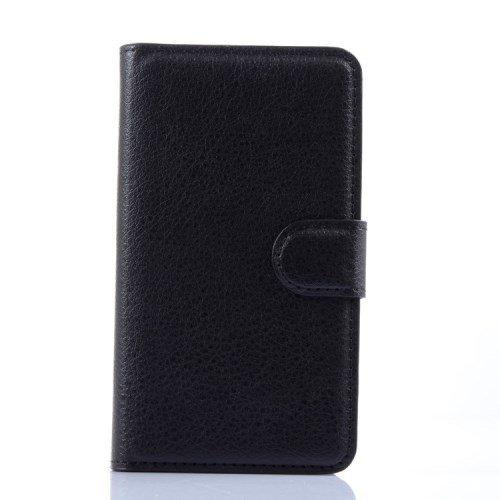 jbTec® Flip Case Handy-Hülle zu LG L Fino / D295 - BOOK EINFARBIG - Handy-Tasche, Schutz-Hülle, Cover, Handyhülle, Ständer, Bookstyle, Booklet, Farbe:Schwarz