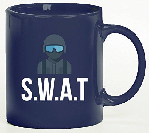 etasse Kaffeebecher mit SWAT Kostüm 2 Motiv von ShirtStreet, Größe: onesize,blau (Swat Halloween Kostüm)
