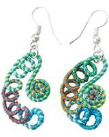 Ladies Nylon Cord Coated Half Moon Pendant Dangle Earrings Pair