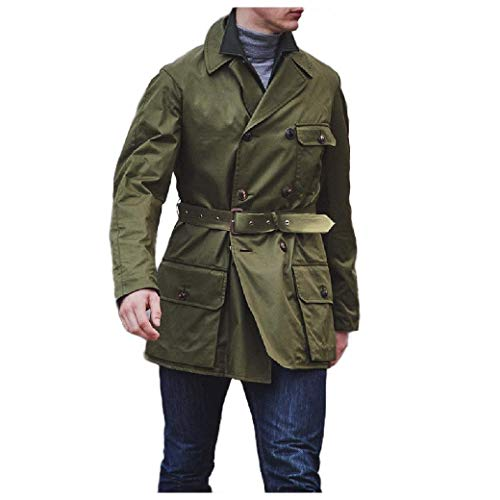 VITryst Men's Big and Tall Outdoor British Style Double-Breasted Slim PEA Coat Army Green XL -