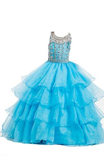 PuTao Prinzessin Mädchen Sheer Hals Kristall Party BallKleid Baby AbendKleid