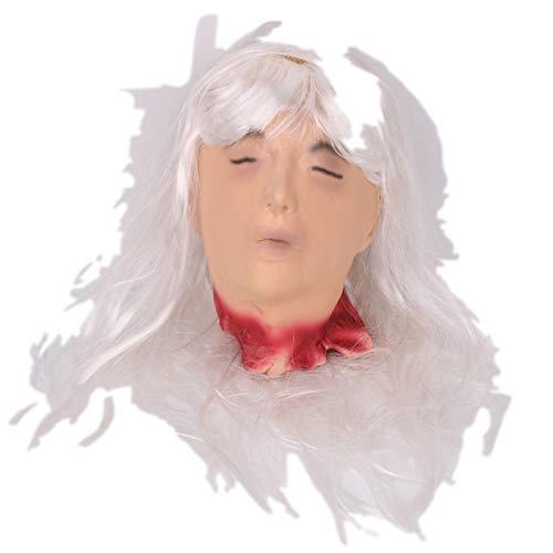 Popcorn Muster Kostüm - TZJ Halloween Horrorkopf Karneval Maske Tanzmaske Terror Requisiten Raum Flucht Simulation Menschlicher Kopf Großhandel weiß Haar geschnitten weiblicher Kopf