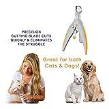 PetiCare - Iluminadora de uñas para mascotas iluminada, ideal para gatos y perros. Funciones de luz LED dobles como trampadora de uñas - Amarillo y gris