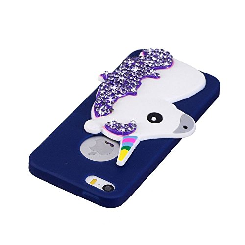 Solaxi iPhone 5 /5S /SE Cover 3D Cartoon Unicorno Bling Glitter Diamante Brillante Lusso Sollievo Motif Guscio Morbido Sottile TPU Silicone Custodia Antiurto della Calotta Shockproof Anti-Scraches Ski Blu Scuro