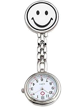 JSDDE Uhren,Krankenschwester FOB-Uhr Rund Lächeln Emoticon Damen Herren Schwesternuhr Taschenuhr Quarzuhr,Weiß