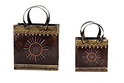 Home and Bazaar Traditional Metal Hand Painted Purse Shape Magazine Rack Set of 2 11.5Inch / 28.75Cm