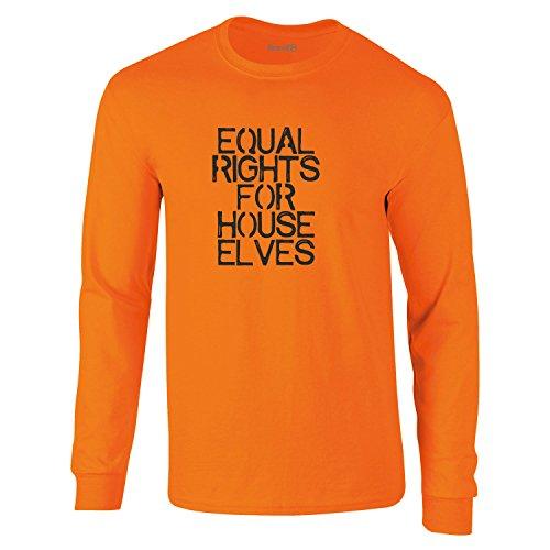 Equal Rights for House Elves, Erwachsene Langarm-T-Shirt, Sicherheit Orange/Schwarz, XL -111-116cm