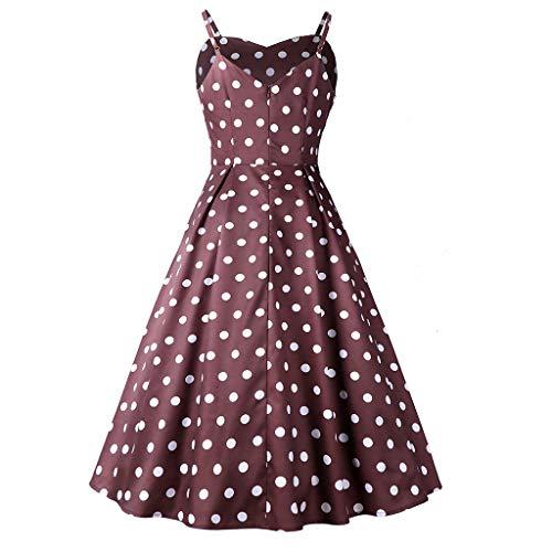 Vintage-braun Polka Dot (GOKOMO Frauen ärmelloses V-Ausschnitt Polka Dot Large Sleeve Rock Vintage-Kleid(Kaffee,Medium))