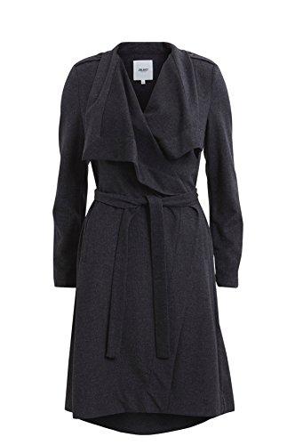 Object Ann leichter Wollmantel mit Gürtel zum binden | Trench-Coat Mantel lang (40, Dunkelgrau)