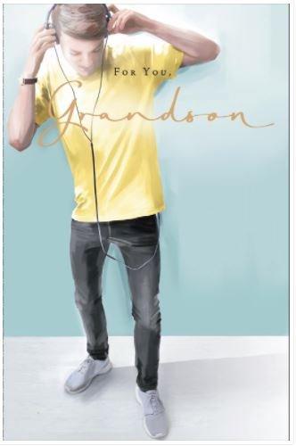 Grandson Geburtstagskarte–(ukg553706)–aus der Thinking of You Serie–Mit Einem Gold Vereitelt Finish