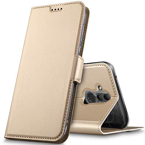 GeeMai Huawei Mate 20 lite Hülle, Huawei Mate 20 lite Leder Hülle PU Wallet Flip Case Ledertasche Schutzhülle handyhüllen für Huawei Mate 20 lite Smartphone mit Standfunktion und Magnetisch, Gold